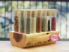 Test Tube Spice Rack in Aromatic Cedar by TheTubularSpiceCo