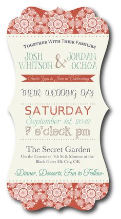 Shaped Vintage Country Wedding Invitation by CrystalShireyDesign