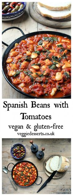 These Spanish beans with tomatoes and smokey sweet spices are so easy to make in less than 20 minutes. They're perfect as tapas, main meals or a side dish. Vegan and gluten-free. - This page has so many vegan meals! Tapas Recipes, Veggie Recipes, Whole Food Recipes, Cooking Recipes, Dinner Recipes, Easy Veggie Meals, Cooking Ideas, Spanish Food Recipes, Tapas Food
