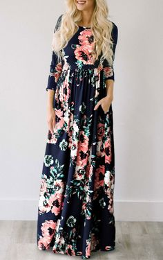 $33.99 Chicnico Ecstatic Harmony Navy Blue Floral Print Maxi Dress