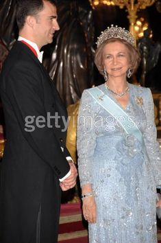 Sofia in the Cartier Loop tiara, with her son, now King Felipe of Spain
