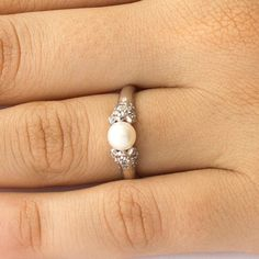 Antique Style Diamonds Pearl Engagement Ring in by JulietAndOliver