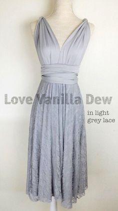 Bridesmaid Dress Infinity Dress Light Grey Lace Knee Length Wrap Convertible Dress Wedding Dress