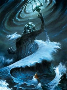 After the defeat of their father, Poseidon, Zeus, and Hades divided the rule of the world up into 3 parts the sky, the sea, and the underworld. Poseidon became the god of the sea.