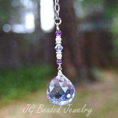 Purple crystal with amethyst gemstones and Swarovski pearls rearview mirror or…