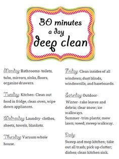 12 Cheap DIY Ideas to Fix Up the House Before the Holidays, including 30 minutes deep clean schedule