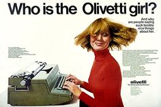 And why does she keep whipping her hair around? (Funny bad retro typewriter ad)