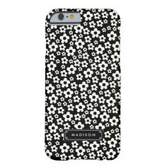 Chic Mod Black White Floral Personalized Barely There iPhone 6 Case