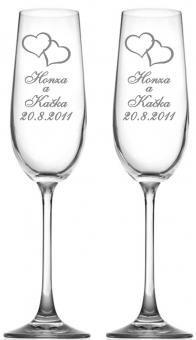 Svatební skleničky se srdíčky