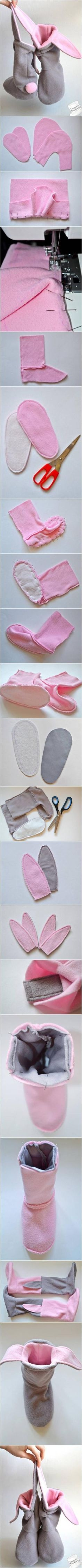 DIY Lovely Bunny Slippers #craft #sewing #slippers by bridgette.jons