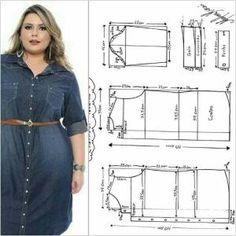 64 trendy sewing clothes plus size free pattern Dress Sewing Patterns, Sewing Patterns Free, Clothing Patterns, Free Pattern, Pattern Ideas, Dyi Couture, Big Size Fashion, Costura Fashion, Diy Vetement