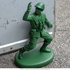 Classic toy themed door stop for home or business. Resin cast sculpture is classic army man green and features a lifelike pose. Makes a great gift for military families or anyone who fondly remembers their old plastic figures. Sock Hop Costumes, Diy Doorstop, Boy Room, Kids Room, The Fortress Of Solitude, Green Army Men, Den Ideas, Room Ideas, Classic Army