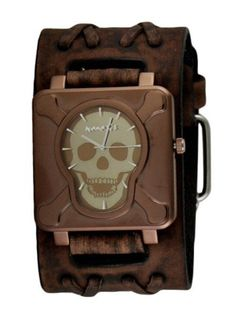 Cross Bones Skull Watch by Nemesis Watch (Faded Brown) | Inked Shop - www.inkedshop.com#inked #inkedmag #inkedguys #crossboneskull #watch #fadedbrown