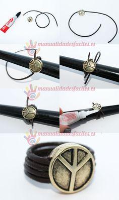 Como hacer un anillo con cordon de cuero