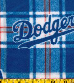 Los Angeles Dodgers MLB Plaid Fleece Fabric