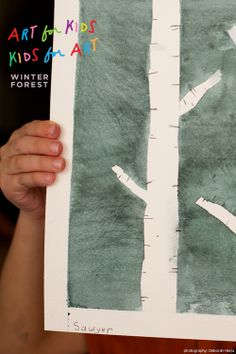 Trees- art lesson ... can add some green leaf paint stamps to adapt it for forest art
