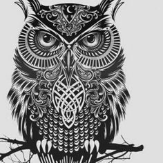 Tribal Owl    this would make a cool tattoo!