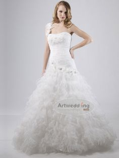 Rich in detail and style, this ruffled organza A-line wedding dress is the perfect balance of drama and romance.  $299.99