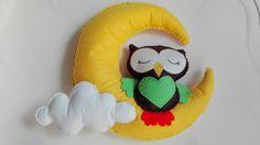 Owl sleeping felt baby mobile decoracion bedroom girl boy moon cloud stars wall hanging ornament crib mobile di PassionHandMade14 su Etsy