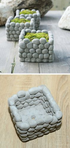 I love this unique concrete piled pebble planter. It is perfect as a decoration but looks especially striking when used as a planter for small house plants. #ad #concrete #planter #pot #flowerpot #pebble #cement #homedecor #decoration