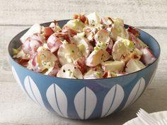 My sister-in-law makes this and it's SOOO very good.  Bacon-Ranch Potato Salad: Mix 2/3 cup mayonnaise, 1/4 cup buttermilk, 2 tablespoons cider vinegar, 1 minced garlic clove, 1/2 cup chopped celery, 2 chopped scallions, 1 teaspoon sugar, and salt and pepper. Toss with 2 pounds boiled cubed red potatoes. Top with 6 slices cooked bacon, crumbled.
