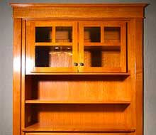 Quarter Sawn Oak Built-In China Cabinet Front Porch Stairs, Porch Columns, Porch Steps, Front Steps, Craftsman Style Porch, Craftsman Interior, Porch Railing Designs, Front Porch Design, Oak Bookshelves
