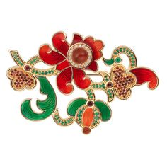 CIRO XMAS brooch/red Cirolit white/red/green, enamel red/green, red agate, gold-plated