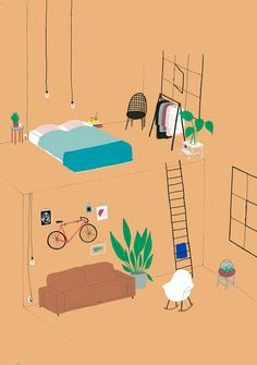 CONSUMER BEDROOMS? Dutch illustrator Lianne Nixon's eye for perspective helps her create impeccable interior illustrations. This fascination with decorative homes started with a design purchase, a replica of an Eames DAW chair.