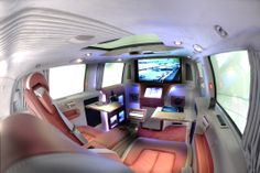 A unique luxury van with an innovative multimedia system that features the Apple and Sony components: Sony 3D LED 40 inch screen, Playstation 3, 2 iPads, Mac Mini computer.
