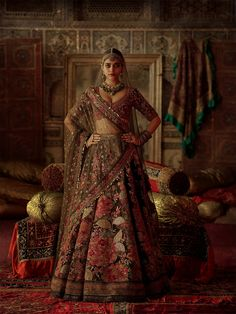 Check all sabyasachi beautiful new winter bridal collection here. These winter bridal collection includes devi, chowk, nargis and isfahan etc. Indian Bridal Outfits, Indian Bridal Fashion, Indian Bridal Wear, Indian Dresses, Pakistani Dresses, Indian Wear, Sabyasachi Lehenga Bridal, Indian Bridal Lehenga, Anarkali