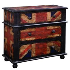 3-drawer chest with a distressed Union Jack motif and bun feet.   Product: ChestConstruction Material: Wood and...