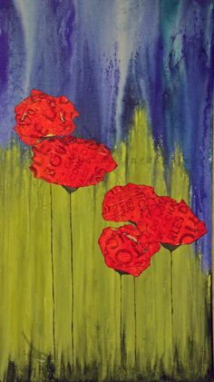 Original Mixed Media Canvas, Scarlet Tide, 36x36, Poppies, Abstract