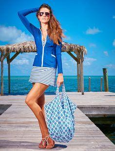 Ladies Zip-up Rashguard, Blue - UPF 50+