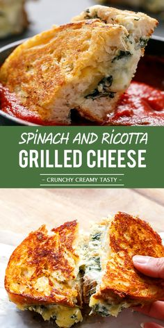 Easy Spinach and Ricotta Grilled Cheese [video]You can find Ricotta cheese recipes and more on our website.Easy Spinach and Ricotta Grilled Cheese [video] Healthy Recipes, Vegetarian Recipes, Cooking Recipes, Eat Healthy, Happy Healthy, Vegetable Recipes, Delicious Recipes, Yummy Food, Tasty