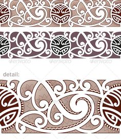 Buy Maori Styled Seamless Pattern by artefy on GraphicRiver. Ready to use as a vector swatch. Cover Up Tattoos, Leg Tattoos, Tribal Tattoos, Polynesian Designs, Maori Tattoo Designs, Polynesian Tattoos, Filipino, Maori Symbols, Maori Patterns