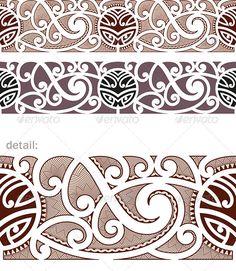 Maori Styled Seamless Pattern - Tattoos Vectors