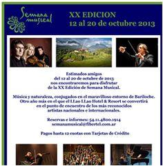 Festival Semana Musical Llao Llao en Bariloche Hotel Llao Llao 12 al 20 de octubre de 2013