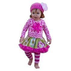 Giggle Moon andquotWinter Wonderandquot Drop Waist Tutu Dress With Leggings. Pink tunic top with lime floral skirt and striped leggings for little girls. See More Tutus And Pettiskirts at http://www.ourgreatshop.com/Tutus-And-Pettiskirts-C209.aspx