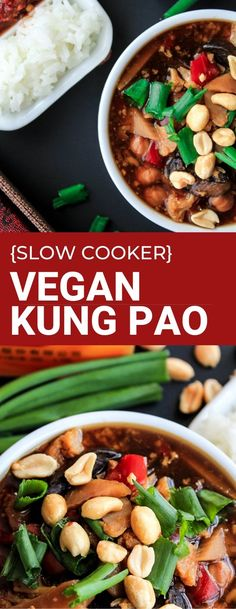 Slow cooker Kung Pao is vegan gluten free and dairy free. Perfect for a busy weeknight dinner. Serve with rice. Slow cooker Kung Pao is vegan gluten free and dairy free. Perfect for a busy weeknight dinner. Serve with rice. Vegan Crockpot Recipes, Vegan Dinner Recipes, Vegan Dinners, Vegan Recipes Easy, Lunches And Dinners, Slow Cooker Recipes, Asian Recipes, Cooking Recipes, Vegetarian Desserts