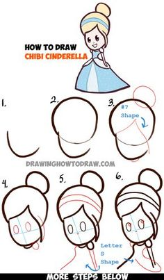 Learn How to Draw Cute Baby Chibi Cinderella - Simple Steps Drawing Lesson
