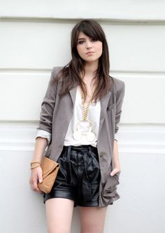Leather shorts + boyfriend blazer.