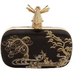Alexander McQueen samurai gold embroidered skull clutch