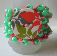 Green and Orange Floral Wrap Bracelet by DivineLuluCreations, $12.50