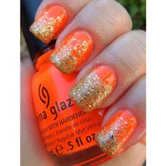 Gold Glitter Nails ❤ liked on Polyvore featuring beauty products, nail care, nail treatments and nails