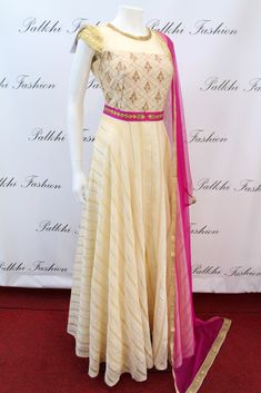 PalkhiFashion Exclusive Full Flair Beige Silk Hand Work Outfit with Contrast Duppata.