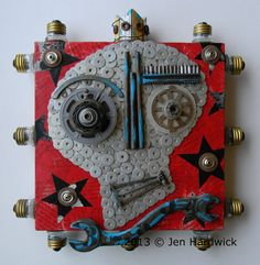 "Recycled Art Assemblage  -  ""King Skully""  - Original Mixed Media by redhardwick, SOLD."