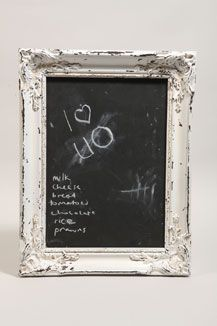 Blackboard Frame; (See DIY chalkboard paint), trim and insert painted board into thrift-ed frame.