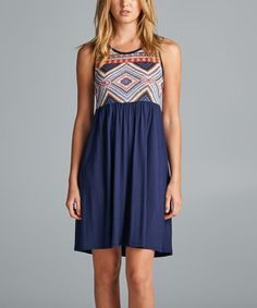 Blue Geometric Empire-Waist Dress - Plus