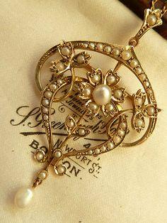 LARGE ANTIQUE EDWARDIAN 9ct GOLD & PEARL LAVALIER PENDANT & NECKLACE C.1910