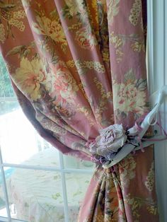 "Vintage Linen Roses Lined Curtain Panel, 51"" wide 83"" long, Shabby Curtain Panel, by mailordervintage on etsy"